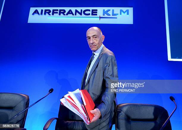 The new CEO of the Air FranceKLM group JeanMarc Janaillac arrives to present the group's firsthalf results in Paris on July 27 2016 Air FranceKLM...