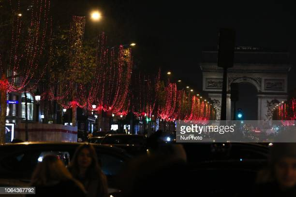 The new Champs Elysees Christmas lights on November 22 in Paris