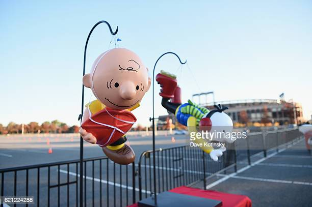 The new Charlie Brown balloon model on display at Macy's Balloonfest in preparation for the 90th Anniversary Macy's Thanksgiving Day Parade at Citi...