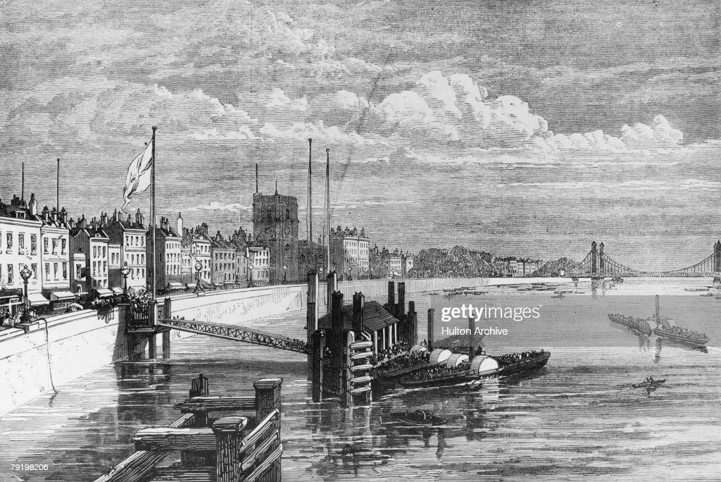 The new Chelsea Embankment, seen from Battersea Bridge, circa 1875.