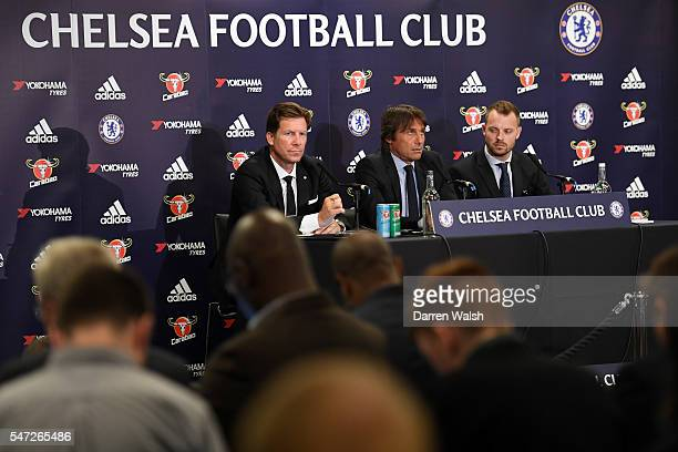 The new Chelsea Manager Antonio Conte speaks to the media during a press conference at Stamford Bridge on July 14 2016 in London England