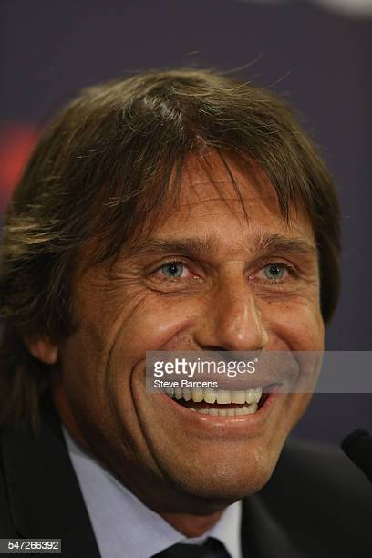 The new Chelsea Manager Antonio Conte talks to the media during a press conference at Stamford Bridge on July 14 2016 in London England