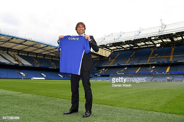The new Chelsea Manager Antonio Conte walks pitchside after a press conference at Stamford Bridge on July 14 2016 in London England