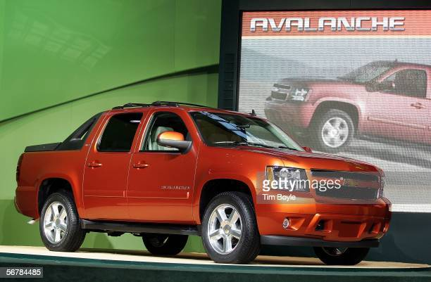 The new Chevrolet Avalanche is displayed after its introduction at the Chicago Auto Show February 8 2006 in Chicago Illinois The Chicago Auto Show...