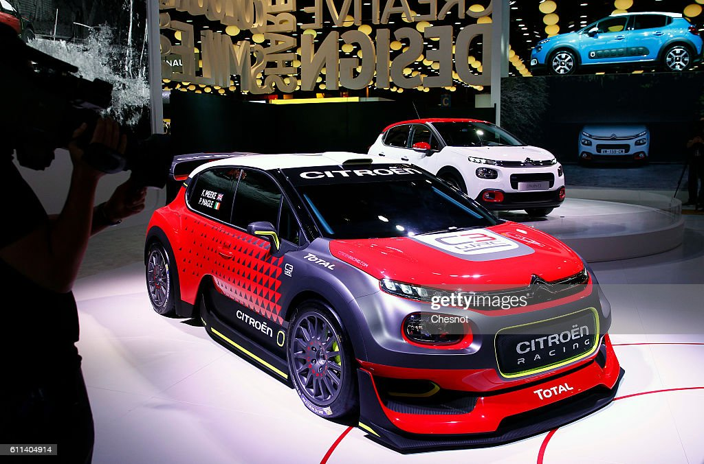 The new Citroen C3 racing automobile sits on display during