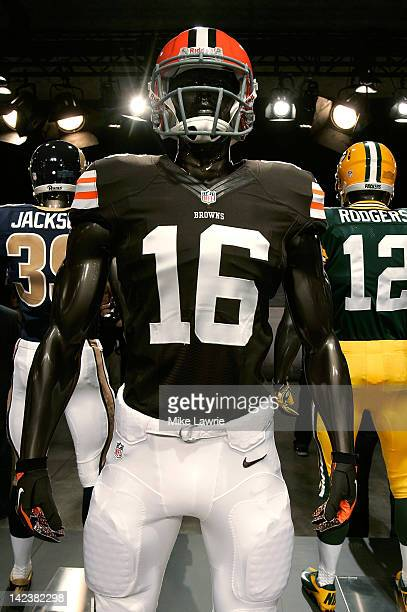 The new Cleveland Browns jersey is displayed during the unveiling by Nike as they begin their partnership with the NFL at Steiner Studios on April 3...