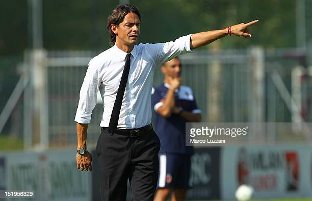 The new coach of AC Milan juvenile Filippo Inzaghi gestures during the juvenile match between AC Milan and Bologna FC on September 9 2012 in Milan...