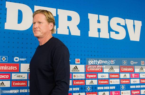 The new coach of German Bundesliga club Hamburger SV Markus Gisdol arrives at a press conference for his introduction in Hamburg Germany 26 September...