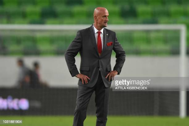 The new coach of Hungary's national team Italian Marco Rossi looks on during the Nations League football match between Hungary and Greece on...