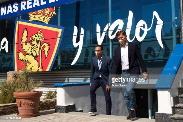 The new coach of Real zaragoza football club, Ruben Baraja, and Sports Director, Lalo Arantegui are seen during the presentation of the new Real...