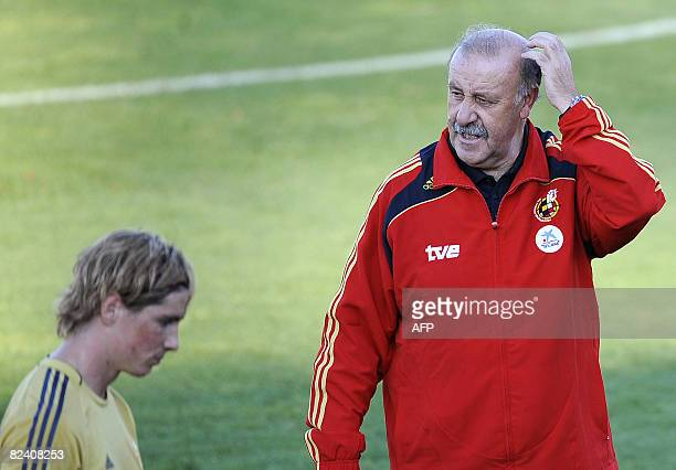 The new coach of the Spanish national football team Vicente del Bosque attends the first training session in Las Rozas near Madrid on August 18 2008...