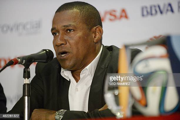 The new coach of the Venezuelan football team Noel 'Chita' Sanvicente speaks during his official introduction in Caracas on July 17 2014 AFP...