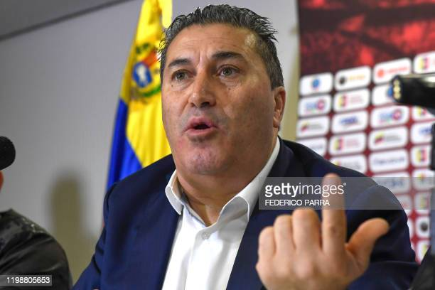 The new coach of the Venezuelan national football team Portuguese Jose Peseiro speaks at a press conference in Caracas on February 5 2020 Peseiro...