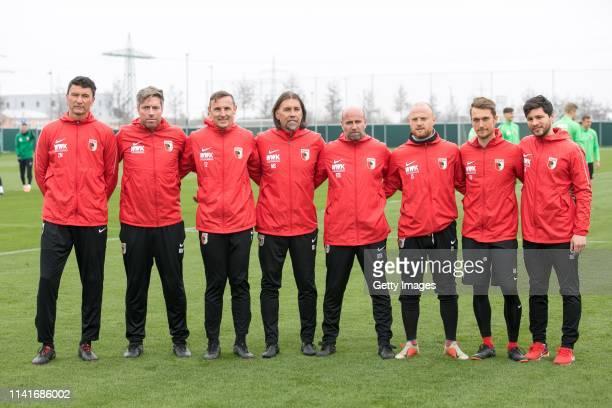 The new coaching team of FC Augsburg Zdenko Miletic , Michael Wimmer , Tobias Zellner , Martin Schmidt , Stefan Sartori , Jonas Scheuermann , Andreas...