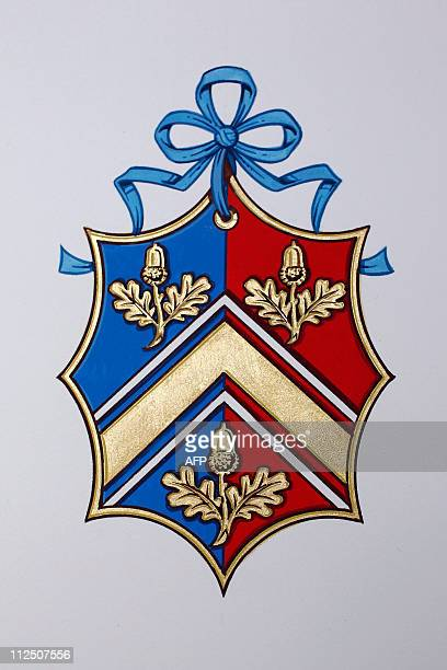 The new Coat of Arms for Kate Middleton's family is displayed at the College of Arms in London on April 18 2011 For a commoner who is soon to become...
