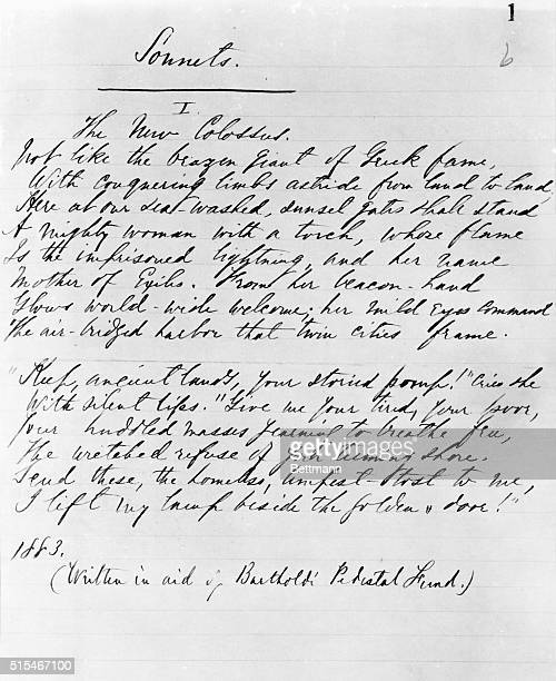 The New Colossus from the original manuscript autographed notebook of the poems of Emma Lazarus Undated text