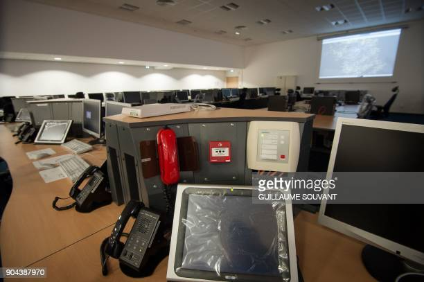 The new control room of the French Air Force Control and Detection Center CDC 07927 is pictured in CinqMarslaPile near Tours Central France on...