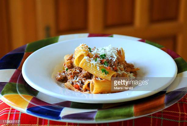 The new cookbook Gourmet Today uses Bolognese sauce with lasagna but it's great with rigatoni as shown