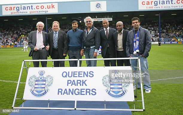 The new crest / badge of Queens Park Rangers is unveiled at Loftus Road by QPR legends Stan Bowles and Gerry Francis Lakshmi Mittal coowner Flavio...