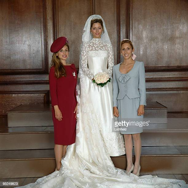 The new Crown Princess Marie-Chantal of the Hellenes with her sisters Pia Getty and Miss Alexandra Miller at Hampton Court Palace on 1st July 1995....