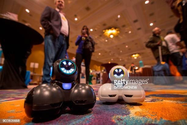 The new Cue robots which are designed to teach kids as young as kindergarten to code are shown at Pepcom's Digital Experience event on the eve of CES...