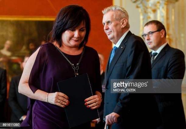 The new Czech Finance Minister Alena Schillerova leaves after she was appointed by Czech President Milos Zeman on December 13 2017 at the Hradcany...