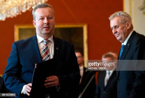 The new Czech Minister for Enviroment and Deputy Prime Minister Richard Brabec of the ANO party leaves after he was appointed by the Czech President...