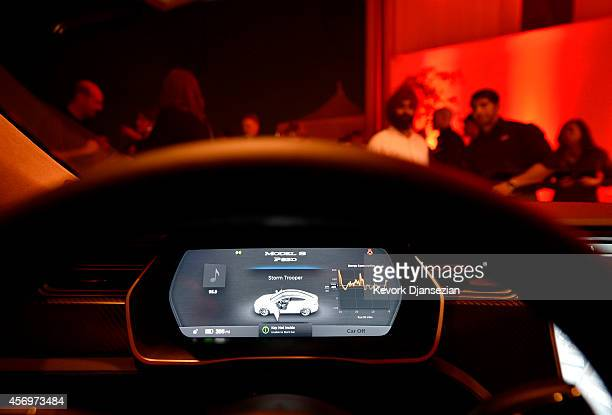 The new dashboard of Tesla 'D' model electric sedan is seen after Elon Musk CEO of Tesla unveiled the dual engine chassis of the new Tesla 'D' model...