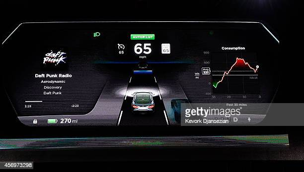 The new dashboard of Tesla 'D' model electric sedan is seen on a giant screen during Elon Musk's CEO of Tesla unveiling of the dual engine chassis of...