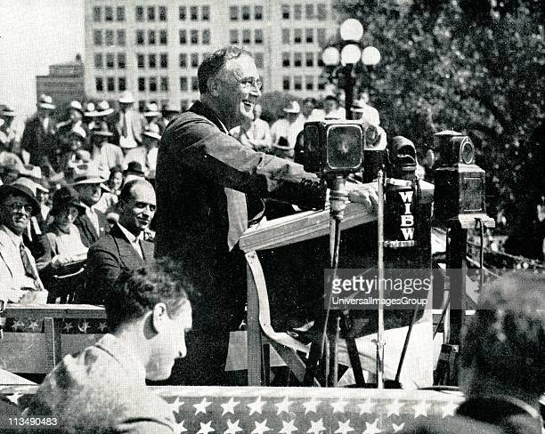 The New Deal: Franklin Delano Roosevelt 32nd President of the USA at Topeka, on the 1932 campaign trail, addressing American farmers and telling them...