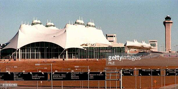 The new Denver International Airport shown here 03 February had its first commercial landing 27 February as a cargo plane landed while workers moved...