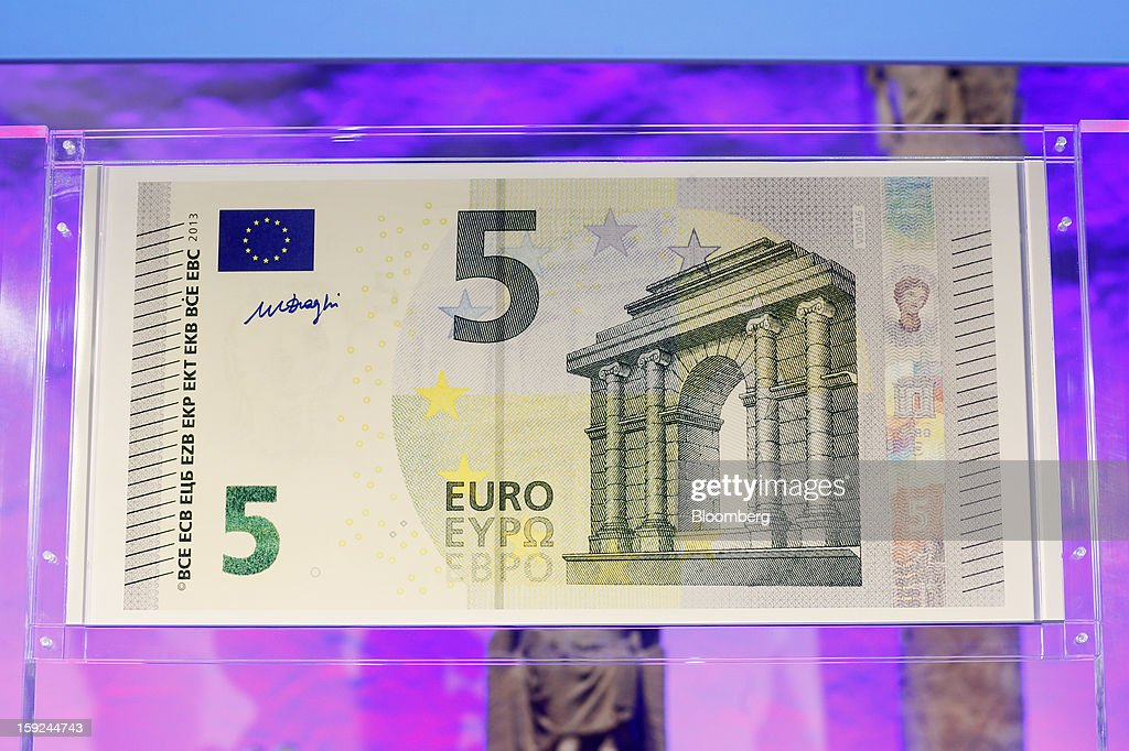 The new design for the 5 euro bank note, the first denomination of the Europa series is seen on display during the launch event at the Archaeological Museum in Frankfurt, Germany, on Thursday, Jan. 10, 2013. ECB President Mario Draghi today unveiled a new 5-euro banknote to be introduced on May 2 as the first of the new 'Europa series' with new security features. Photographer: Ralph Orlowski/Bloomberg via Getty Images