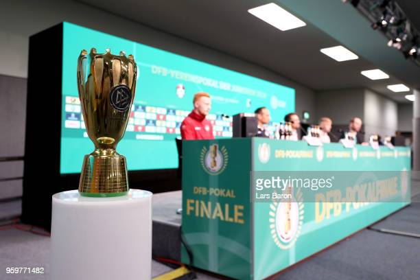The new DFB Juniors Cup trophy is seen during the DFB Juniors Cup Final Press Conference at Olympiastadion on May 18 2018 in Berlin Germany