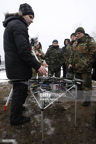 The new drones of Ukrainian Defense Ministry are presented to journalists at the military base in Chernihiv Oblast Ukraine on January 23 2015
