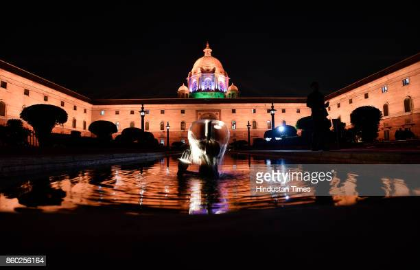 The new Dynamic Facade Lighting of North and South Block Buildings at Raisina Hills on October 11 2017 in New Delhi India