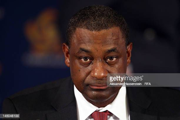 The new elected CONCACAF President Jeffrey Webb looks on during the CONCACAF extraordinary congress at Boscolo Hotel on May 23 2012 in Budapest...