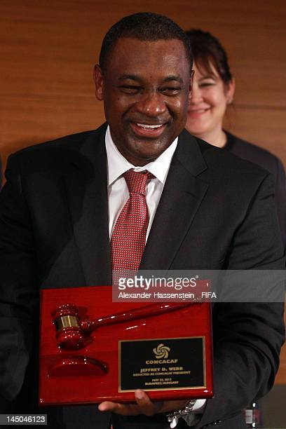 The new elected CONCACAF President Jeffrey Webb smiles during the CONCACAF extraordinary congress at Boscolo Hotel on May 23 2012 in Budapest Hungary