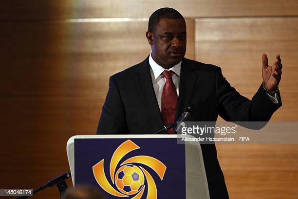 The new elected CONCACAF President Jeffrey Webb speaks during the CONCACAF extraordinary congress at Boscolo Hotel on May 23 2012 in Budapest Hungary