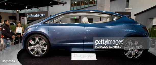 The new electricitypowered Chrysler Eco Voyager is presented to the media at the International Hall of the Automobile 2008 in Mexico City on...