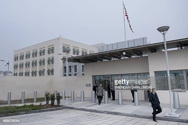 The new embassy compound is seen at the US Embassy on October 31, 2015 in Bishkek. Kerry arrived in Central Asia for a five-day, five-nation tour of...