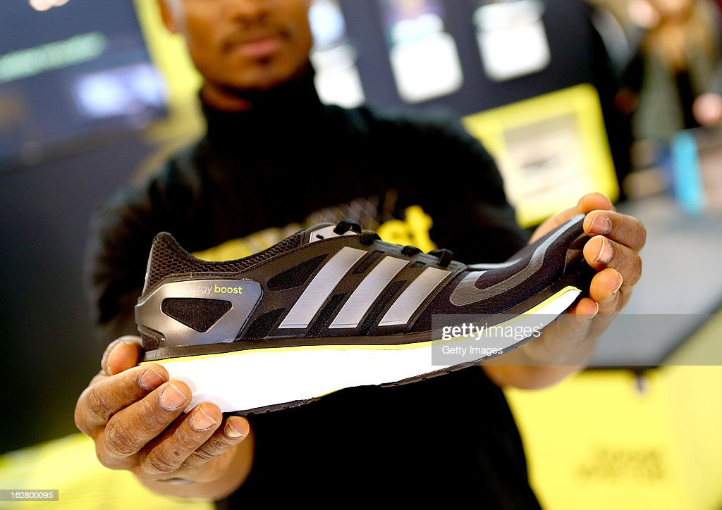 The new Energy Boost on display during the adidas boost launch at the adidas store on Oxford Street on February 27, 2013 in London, England.