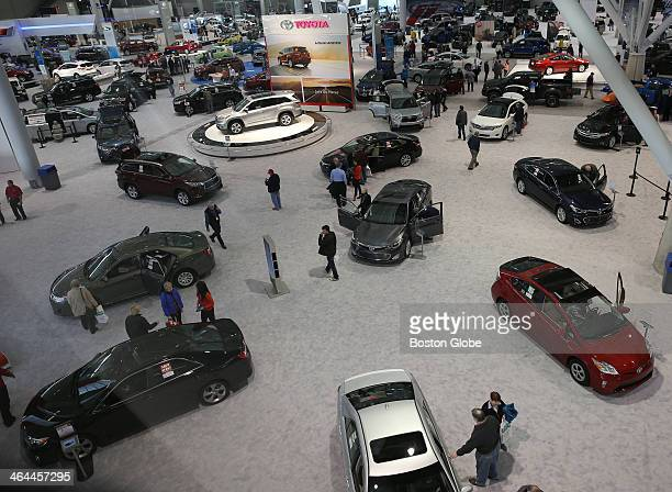 The New England Auto Show on the floor at the Boston Convention and Exhibition Center
