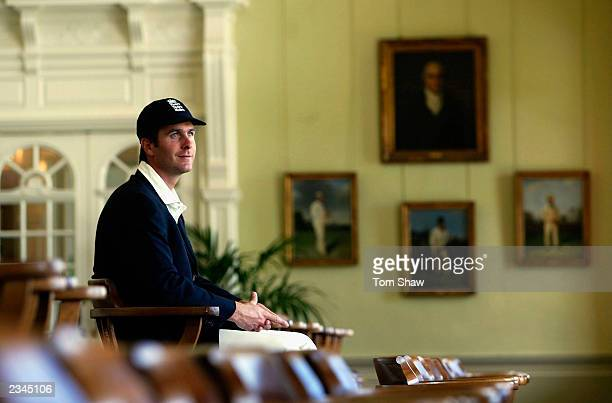 The new England Cricket captain Michael Vaughan looks over Lords from the Long Room during England nets practise at Lords Cricket Ground on July 30...