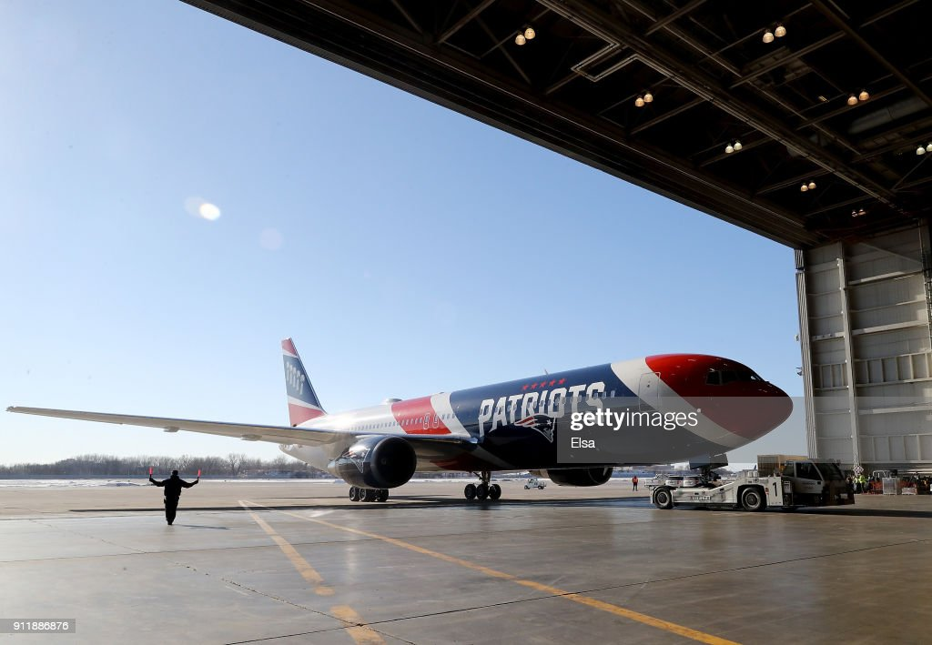 The New England Patriots arrive for Super Bowl LII on January 29, 2018 at the Minneapolis-St. Paul International Airport in Minneapolis, Minnesota.