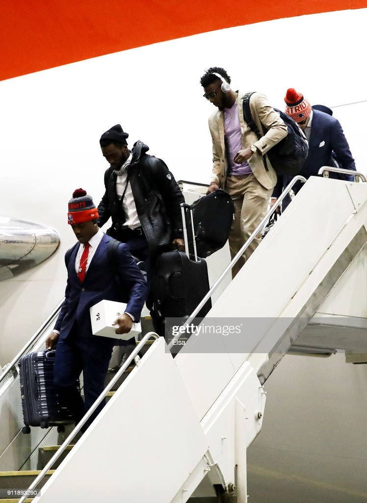 The New England Patriots arrive for Super Bowl LII on January 29, 2018 at the Minneapolis-St. Paul International Airport in Minneapolis,Minnesota.