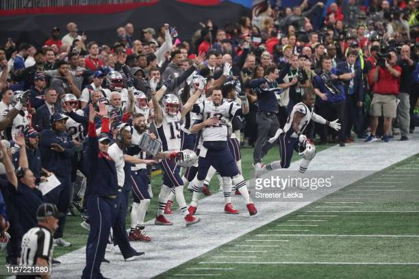 The New England Patriots celebrate after defeating the Los Angeles Rams in Super Bowl LIII at MercedesBenz Stadium on February 03 2019 in Atlanta...