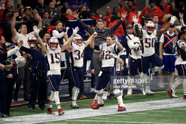 The New England Patriots celebrate after winning the Super Bowl LIII at against the Los Angeles Rams MercedesBenz Stadium on February 3 2019 in...