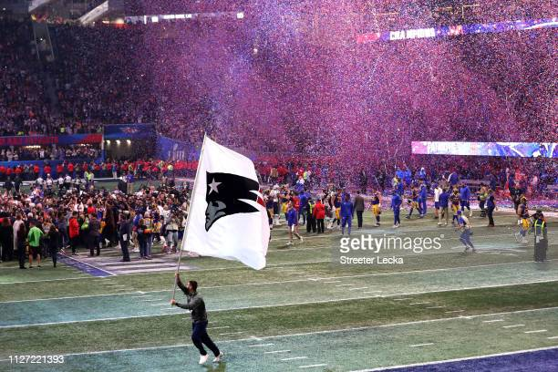 The New England Patriots celebrate their 133 win in Super Bowl LIII against the Los Angeles Rams at MercedesBenz Stadium on February 03 2019 in...