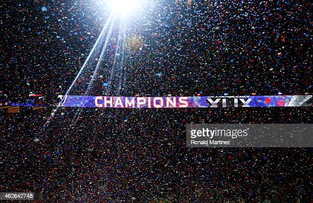 The New England Patriots celebrate their 28-24 win over the Seattle Seahawks during Super Bowl XLIX at University of Phoenix Stadium on February 1,...