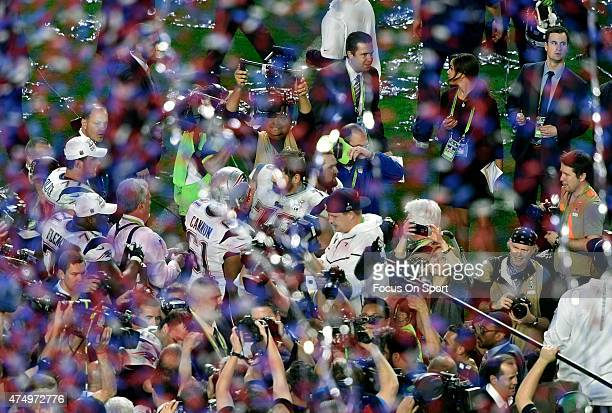 The New England Patriots celebrates defeating the Seattle Seahawks in Super Bowl XLIX February 1 2015 at the University of Phoenix Stadium in...